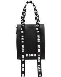 MSGM - Black Leather Logo Ribbons Tote - Lyst