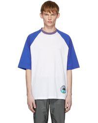 a8a02f62c24a Lyst - T-shirt en coton à écusson logo Prada pour homme en coloris Bleu