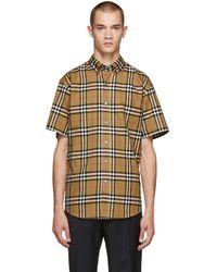 Burberry - Beige Check Jameson Short Sleeve Shirt - Lyst