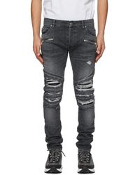 Balmain - Grey Ribbed Patches Slim Jeans - Lyst