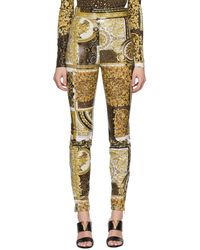 Versace ブラウン Barocco Patchwork Legging トラウザーズ - マルチカラー