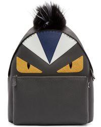 Fendi - Black Fur-trimmed Bag Bugs Backpack - Lyst