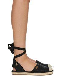 Fendi Black Forever Ankle Strap Espadrilles