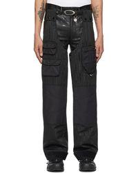Marine Serre Pantalon cargo Survival Hipwaders noir a poches