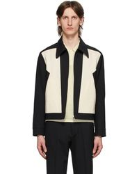 Second/Layer Black And Off-white Zig-zag Panel Jacket