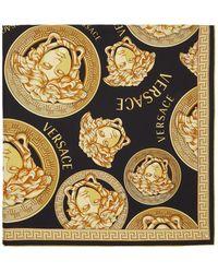 Versace Foulard en soie noir et dore Medusa Amplified - Multicolore