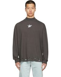 we11done Distressed Wd Logo Long Sleeve T-shirt - Grey