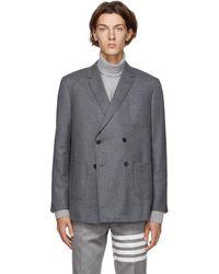 Thom Browne Blazer en laine gris Sack