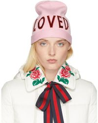 Gucci - Pink Wool 'loved' Beanie - Lyst