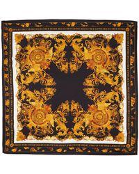 Versace Jeans Couture Foulard Versailles noir et doré en soie - Multicolore