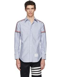 Thom Browne - Blue Elastic Stripe Classic Point Collar Shirt - Lyst