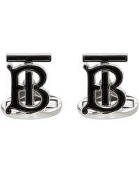 Burberry - ブラック & シルバー Tb カフリンク - Lyst