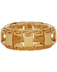Versace - Gold Greek Key Ring - Lyst