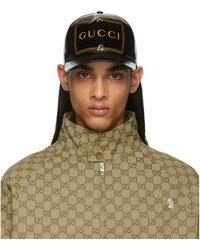 Gucci Black Frame Print Baseball Cap