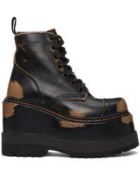 R13 - Black Medium Platform Ankle Boots - Lyst