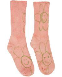 Collina Strada Chaussettes roses et vertes Happy Flowers exclusives à SSENSE