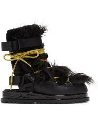 Sacai ブラック オープン バック ブーツ