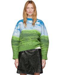 Sunnei ブルー And グリーン ウール スカイライン セーター