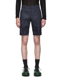 Prada Navy Nylon Gabardine Shorts - Blue