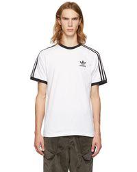 adidas Originals - White 3-stripes T-shirt - Lyst