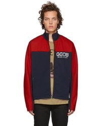 Golden Goose Deluxe Brand ブルー And レッド ジップアップ ジャケット