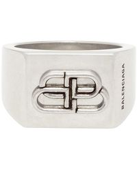 Balenciaga Silver Bb Logo Ring - Metallic