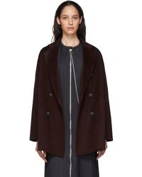 Acne Studios Burgundy Wool Double-breasted Coat - Multicolour