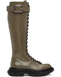 Alexander McQueen Bottes hautes lacées taupe Tread - Multicolore