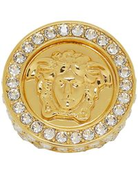 Versace - Gold Crystal Oversized Ring - Lyst