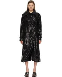Junya Watanabe Trench à double boutonnage noir sequin organdy