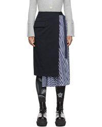 Sacai ネイビー ストライプ プリーツ スカート - ブルー