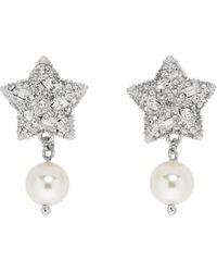 Miu Miu Boucles doreilles en argent Pearl and Crystal Star - Multicolore