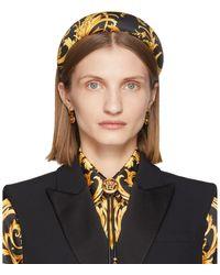 Versace Black And Yellow Silk Barocco Headband