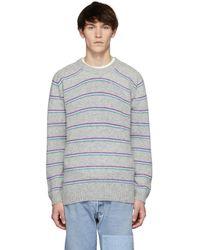 Noah - Grey Three Stripe Jumper - Lyst