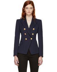 Balmain - Navy Wool Six-button Blazer - Lyst