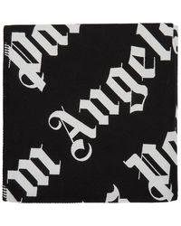 Palm Angels ブラック And ホワイト オールオーバー ロゴ ブランケット