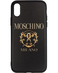 Moschino ブラック テクスチャ プリント Iphone X ケース