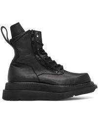Julius Black Wide Sole Combat Boots