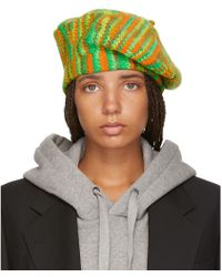 Acne Studios - Green And Orange Knit Beret - Lyst