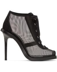 Versus - Black Mesh & Suede Lace-up Boots - Lyst