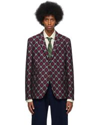 Gucci Navy GG Diamond Blazer - Blue