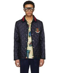 Gucci - Blue Bee Quilted Jacket - Lyst