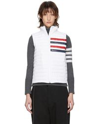 Thom Browne White Down Quilted Four Bar Vest