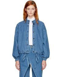 69 - Blue Denim Pleated Jacket - Lyst