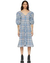 Ganni ブルー チェック ドレス