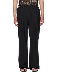 Dion Lee Pantalon lingerie noir en laine