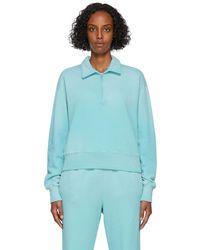 RE/DONE ブルー 70s ハーフジップ スウェットシャツ