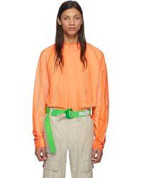 Heron Preston オレンジ And ホワイト タートルネック Style ロング スリーブ T シャツ