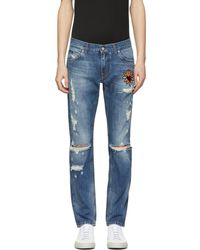 Dolce & Gabbana | Blue Distressed Patch Jeans | Lyst