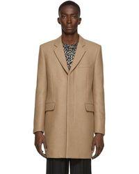 Saint Laurent Tan Camel Diagonal Tailored Coat - Natural